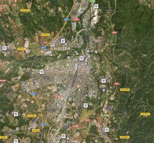 Capa Wikipedia de Girona en Google Maps
